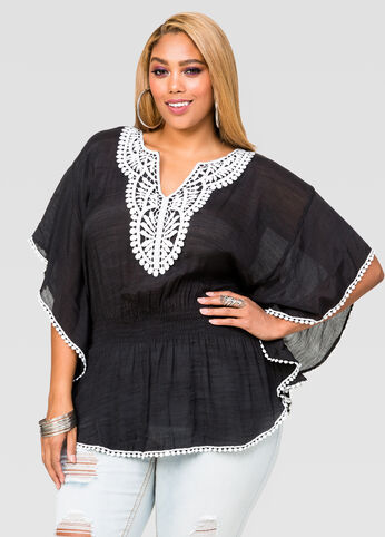Crochet Peasant Poncho Top