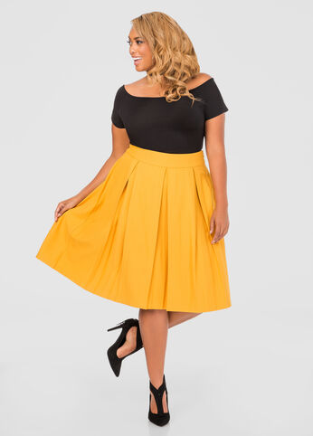 Jacquard Box Pleat Skirt