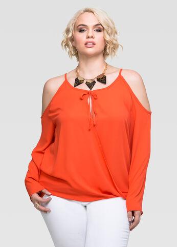 Plus Size Surplice Cold Shoulder Blouse Orange