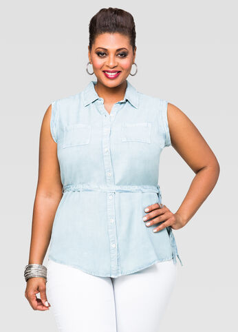 Belted Tencel Denim Tunic