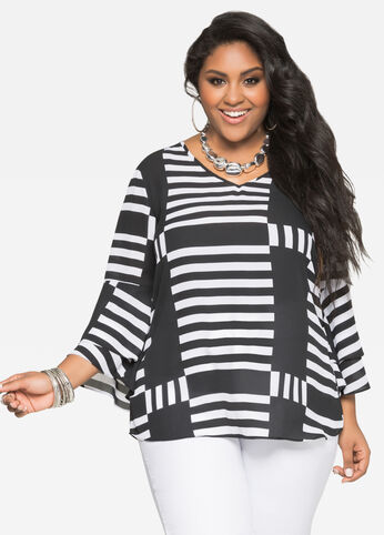 Printed Double Bell Cuff Tunic
