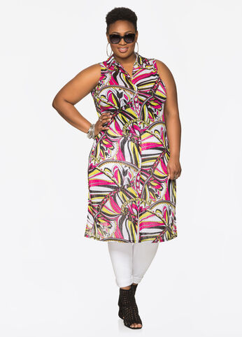 Printed Button Front Duster