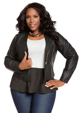 Collarless Faux Leather Jacket