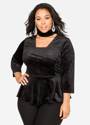 Embossed Velvet Choker Peplum Top