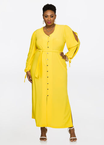 Slit Sleeve Button Front Maxi Dress