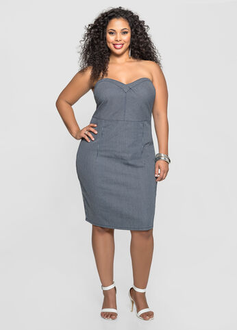 Strapless Pinstripe Denim Bustier Dress