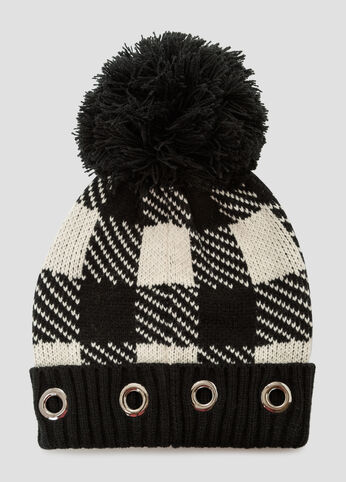 Plaid Grommet Cuff Beanie Hat