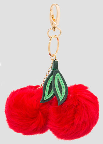 Cherry Fur Pom Key Chain Charm