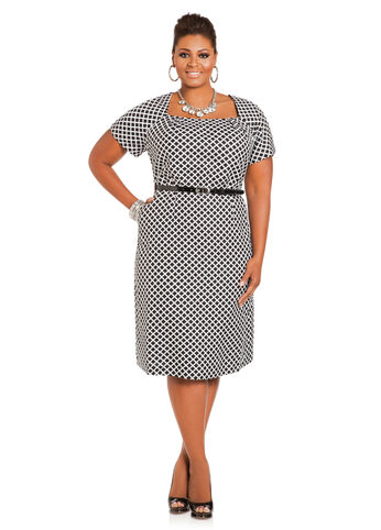 Geo Print Belted Linen Sheath Dress