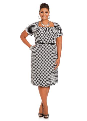 Geo Print Belted Linen Sheath Dress