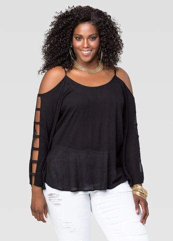 Gauze Cold Shoulder Peasant Blouse