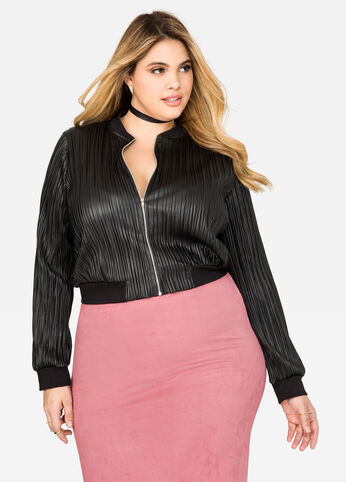 Plissé Faux Leather Bomber Jacket