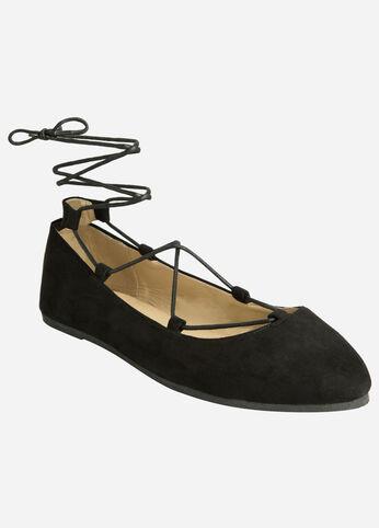 Lace-Up Ballet Flats - Wide Width