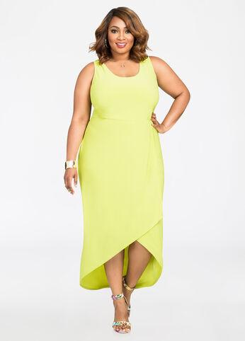 Wrap Front Hi-Lo Maxi Dress