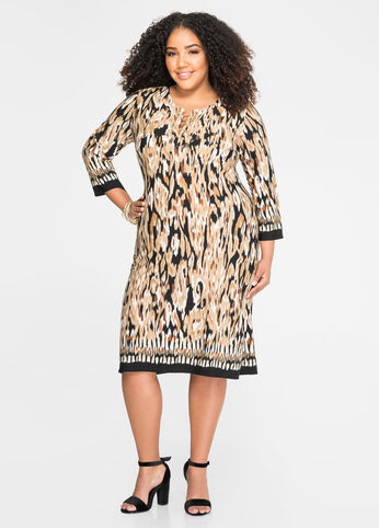 Chain Lace-Up Abstract Animal Dress
