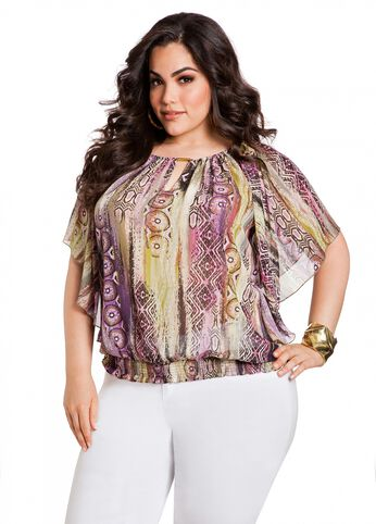 Batik Flutter Sleeve Top