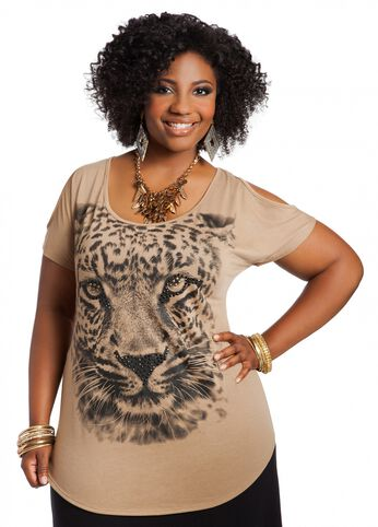 Cold Shoulder Animal Print Top
