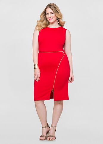 Zip Detail Sheath Dress