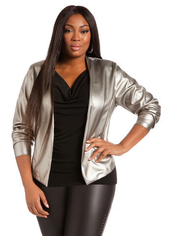 Faux Leather Hi-lo Blazer