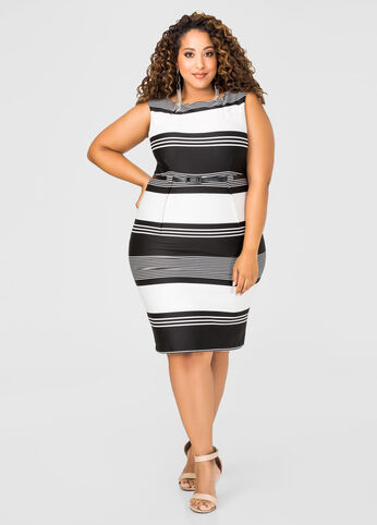 Belted Striped Sheath Dress