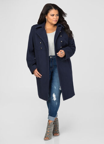 Double Breasted Wool Military Coat
