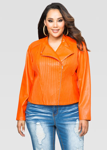 Pleat Front Moto Jacket
