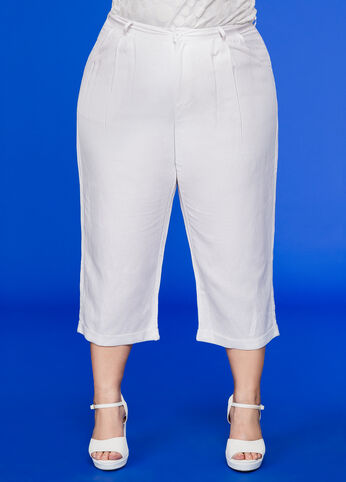 Cropped Linen Pant White - Bottoms