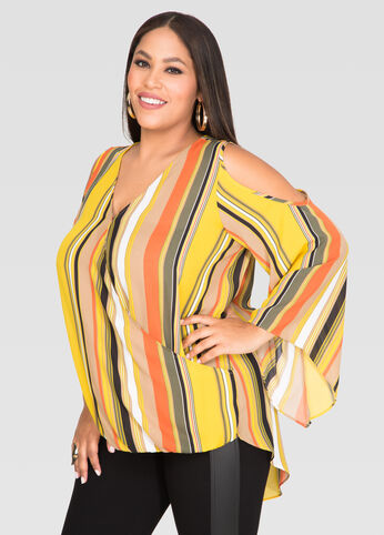 Striped Crossover Hi-Lo Blouse