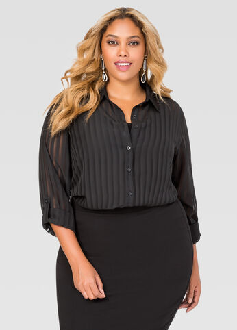 Shadow Stripe Button Front Tunic
