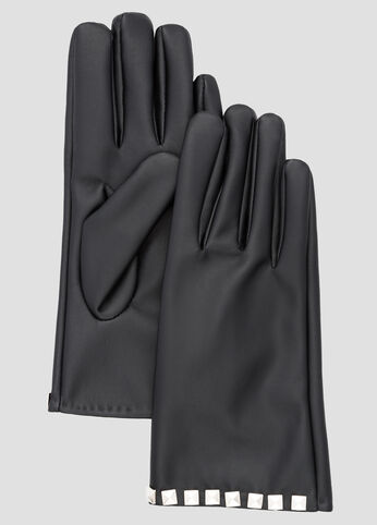 Faux Leather Studded Gloves