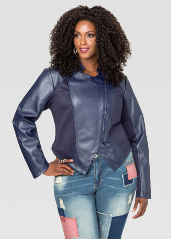 Ponte Faux Leather Jacket