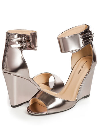 Glossy Ankle Strap Wedges