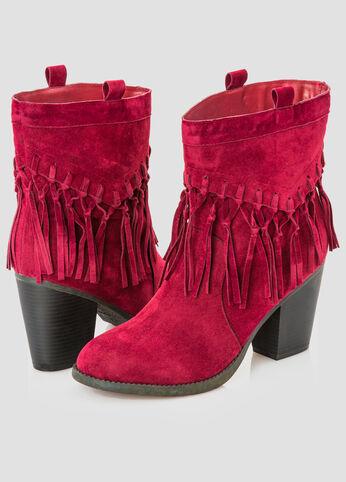 Fringe Chunky Heel Boot - Wide Width