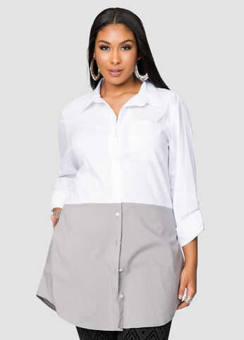 Button Front Colorblock Tunic
