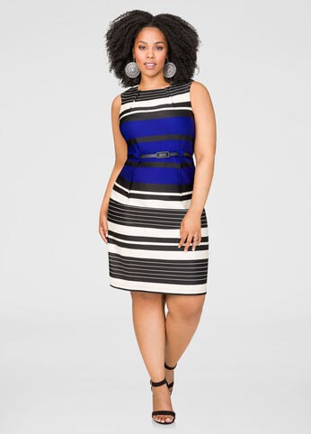 Striped Belted Sheath Dress