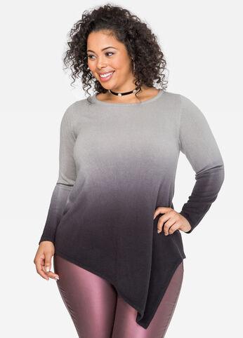 Dip Dye Asymmetrical Tunic Sweater