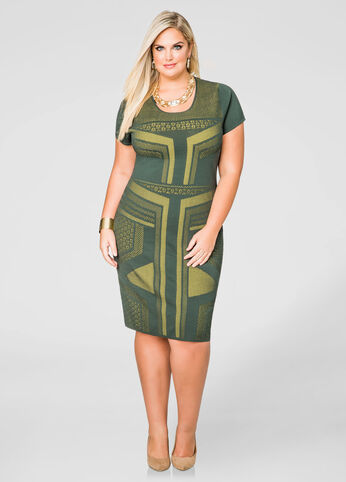 Geo Pattern Bodycon Dress