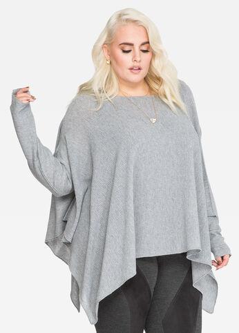 Waffle Knit Poncho Sweater