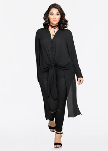 Split Back Chiffon Duster