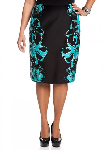 Mirror Floral Print Pencil Skirt