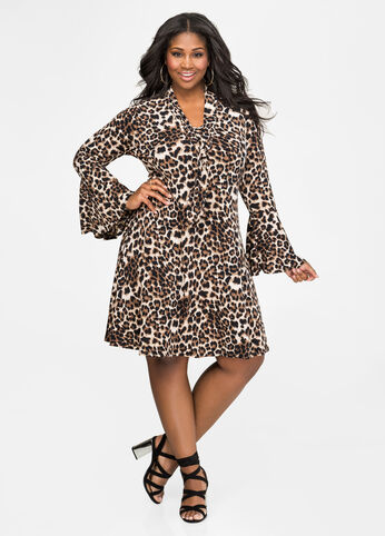 Leopard Tie Neck Bell Sleeve Dress