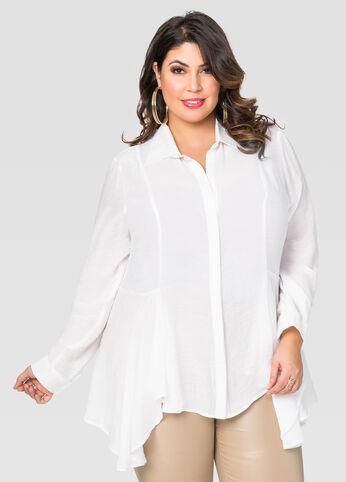 Plus Size Gauze Peplum Shirt