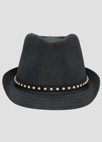 Studded Straw Fedora Hat