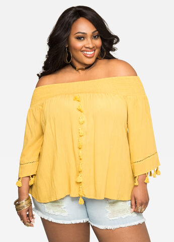 Tassel Off-Shoulder Top