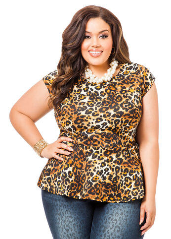Capsleeve Animal Print Peplum Top