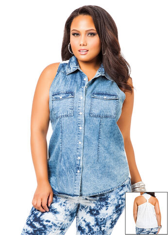 Denim and Eyelet Top