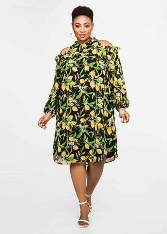 Lemon Print Cold Shoulder Dress