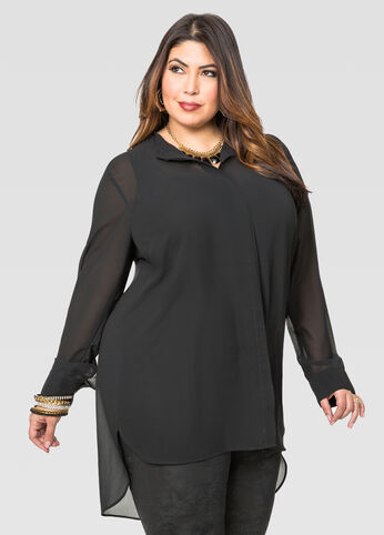 Sheer Waist Seam Tunic