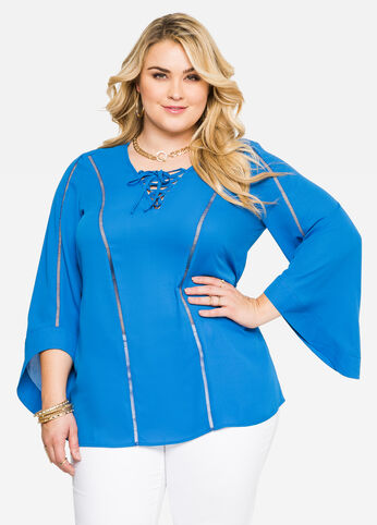 Lace-Up Bell Sleeve Tunic