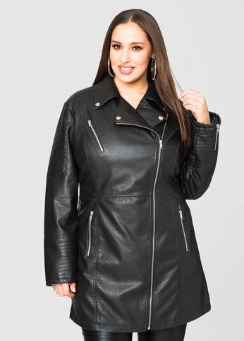 Long Faux Leather Moto Jacket